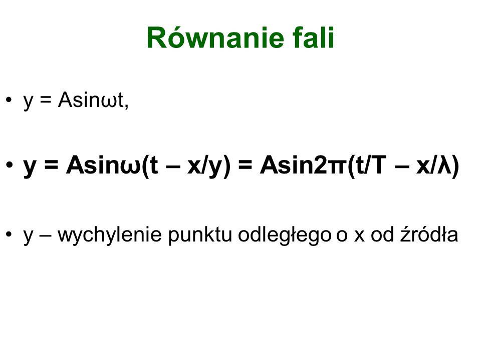 Równanie fali y = Asinω(t – x/y) = Asin2π(t/T – x/λ) y = Asinωt,
