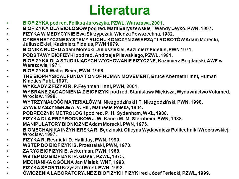 Literatura BIOFIZYKA pod red. Feliksa Jaroszyka, PZWL, Warszawa, 2001.