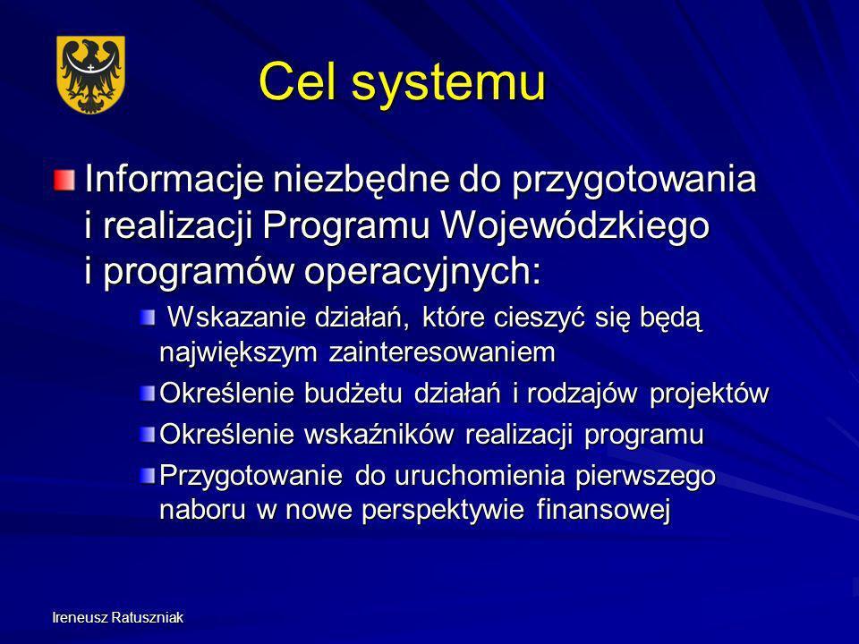 Cel systemu Informacje niezbędne do przygotowania i realizacji Programu Wojewódzkiego i programów operacyjnych: