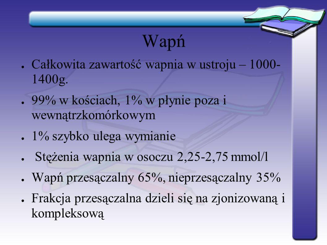 Wapń Całkowita zawartość wapnia w ustroju – 1000- 1400g.