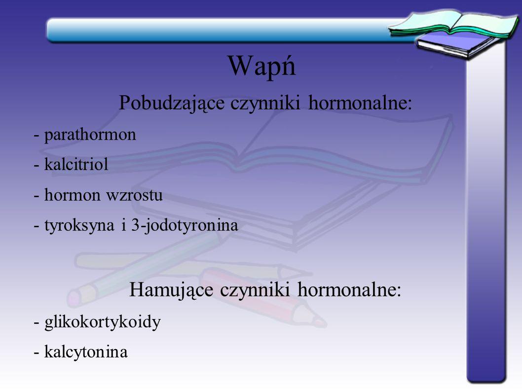 Wapń Pobudzające czynniki hormonalne: Hamujące czynniki hormonalne:
