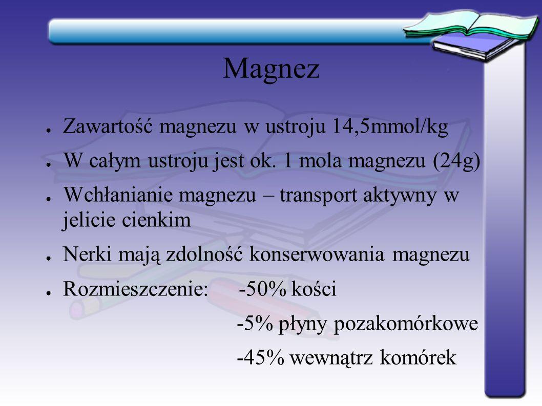 Magnez Zawartość magnezu w ustroju 14,5mmol/kg