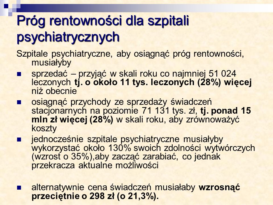 Próg rentowności dla szpitali psychiatrycznych