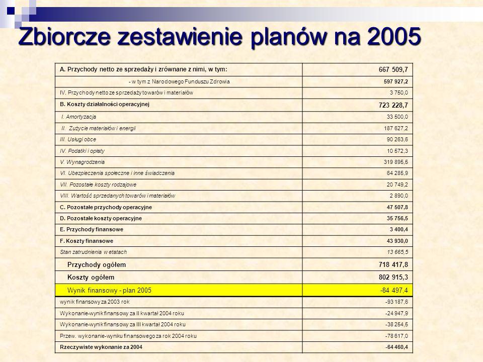 Zbiorcze zestawienie planów na 2005