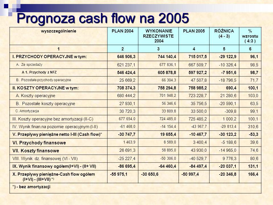 Prognoza cash flow na 2005 VI. Przychody finansowe