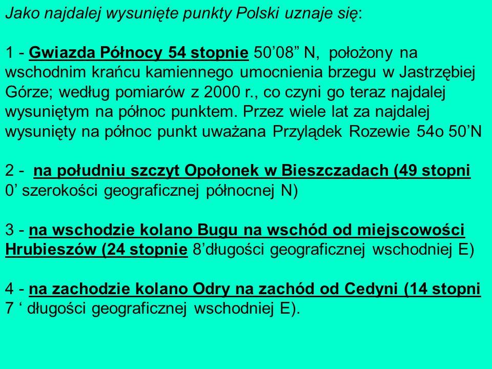 Jako najdalej wysunięte punkty Polski uznaje się: