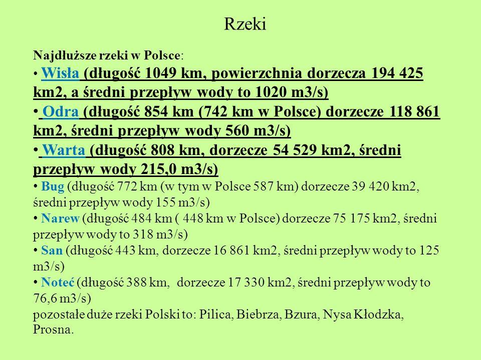 Rzeki Najdłuższe rzeki w Polsce: Wisła (długość 1049 km, powierzchnia dorzecza 194 425 km2, a średni przepływ wody to 1020 m3/s)