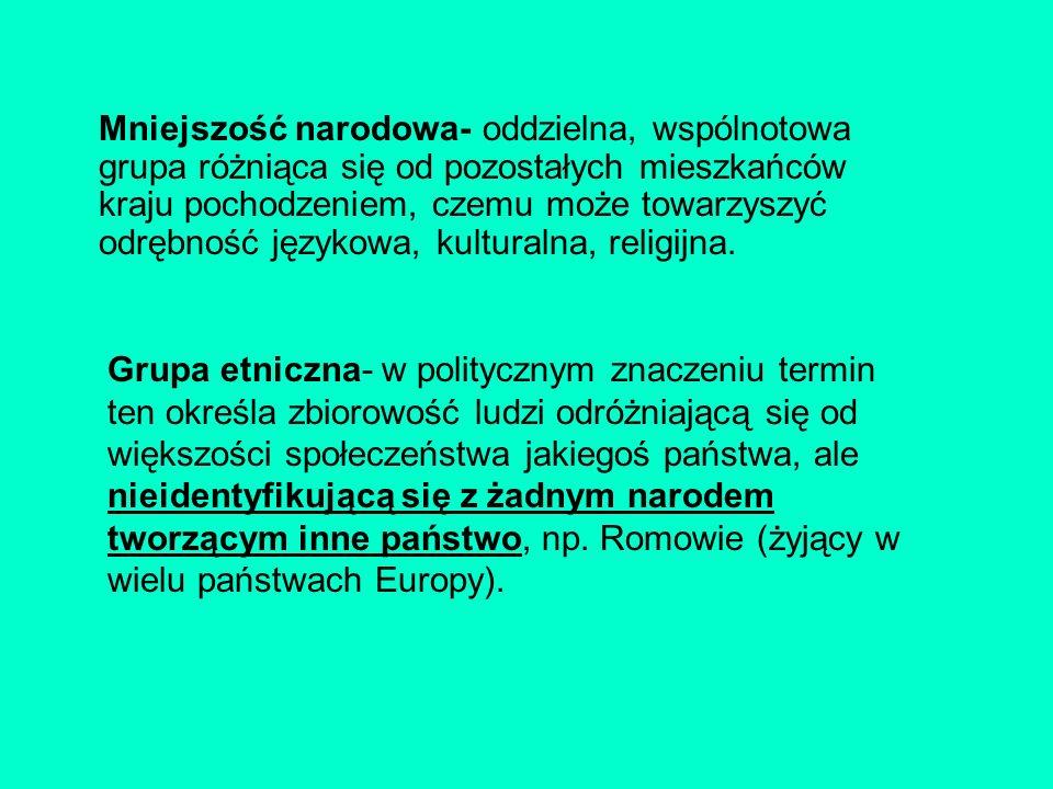 Mniejszość narodowa- oddzielna, wspólnotowa grupa różniąca się od pozostałych mieszkańców kraju pochodzeniem, czemu może towarzyszyć odrębność językowa, kulturalna, religijna.