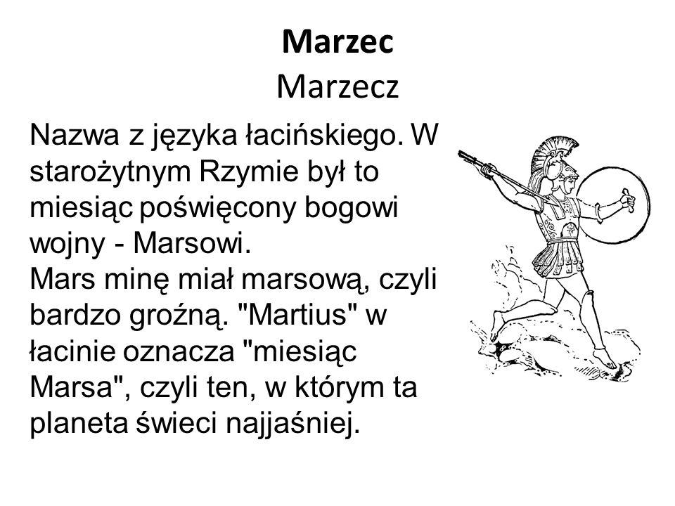 Marzec Marzecz Nazwa z języka łacińskiego. W starożytnym Rzymie był to miesiąc poświęcony bogowi wojny - Marsowi.