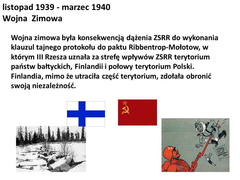 listopad 1939 - marzec 1940 Wojna Zimowa