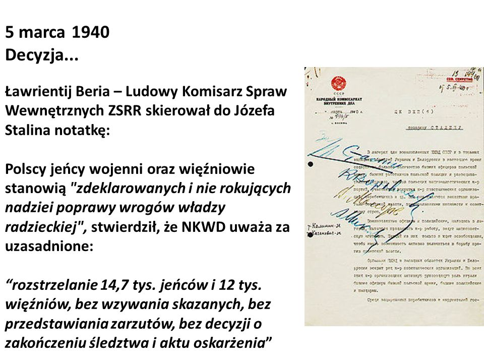 5 marca 1940Decyzja... Ławrientij Beria – Ludowy Komisarz Spraw Wewnętrznych ZSRR skierował do Józefa Stalina notatkę:
