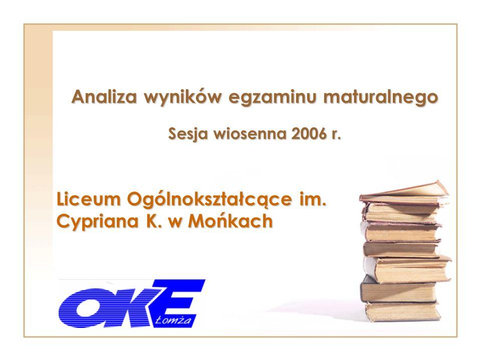 Analiza wyników egzaminu maturalnego Sesja wiosenna 2006 r.