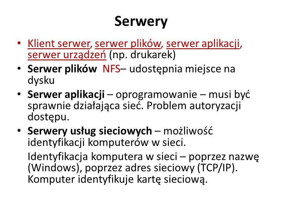 Serwery Klient serwer, serwer plików, serwer aplikacji, serwer urządzeń (np. drukarek) Serwer plików NFS– udostępnia miejsce na dysku.