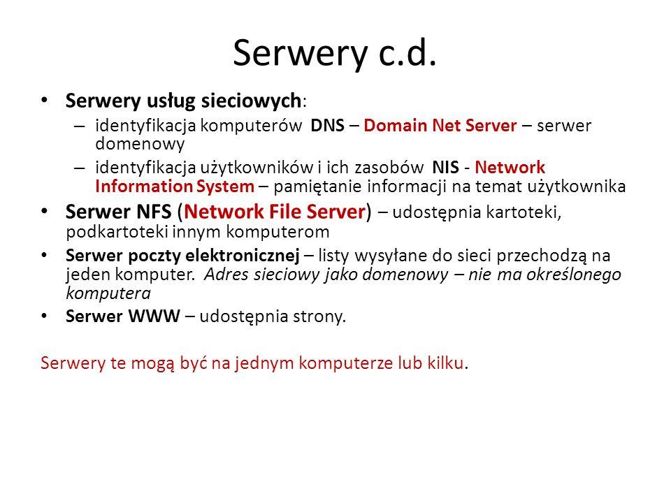 Serwery c.d. Serwery usług sieciowych: