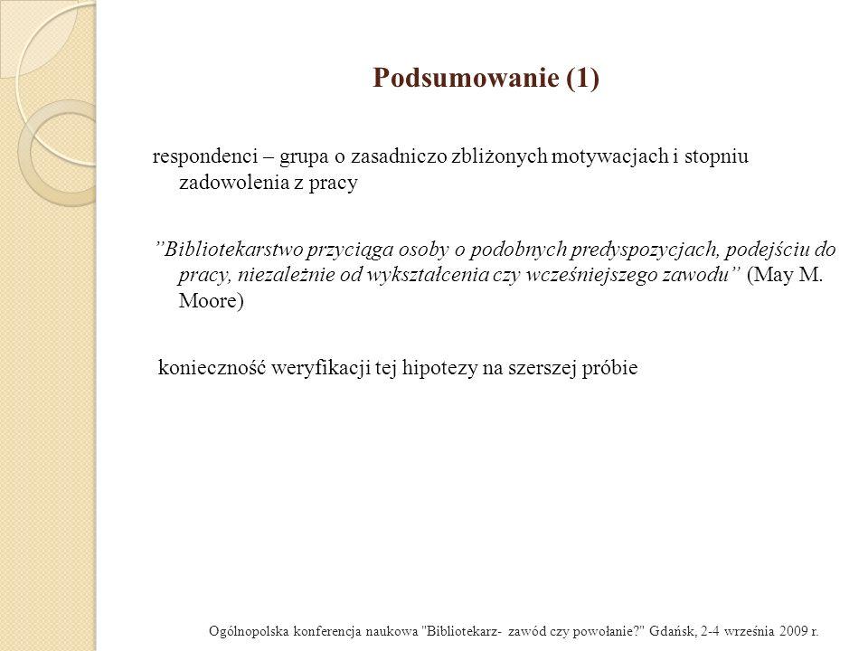 Podsumowanie (1) respondenci – grupa o zasadniczo zbliżonych motywacjach i stopniu zadowolenia z pracy.
