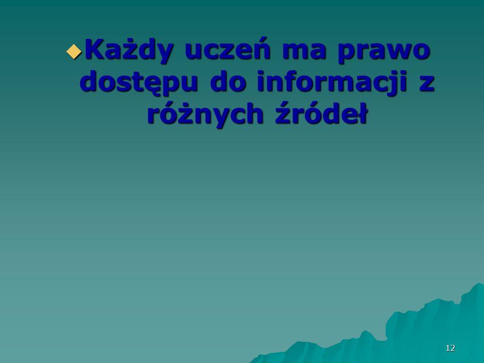 Każdy uczeń ma prawo dostępu do informacji z różnych źródeł