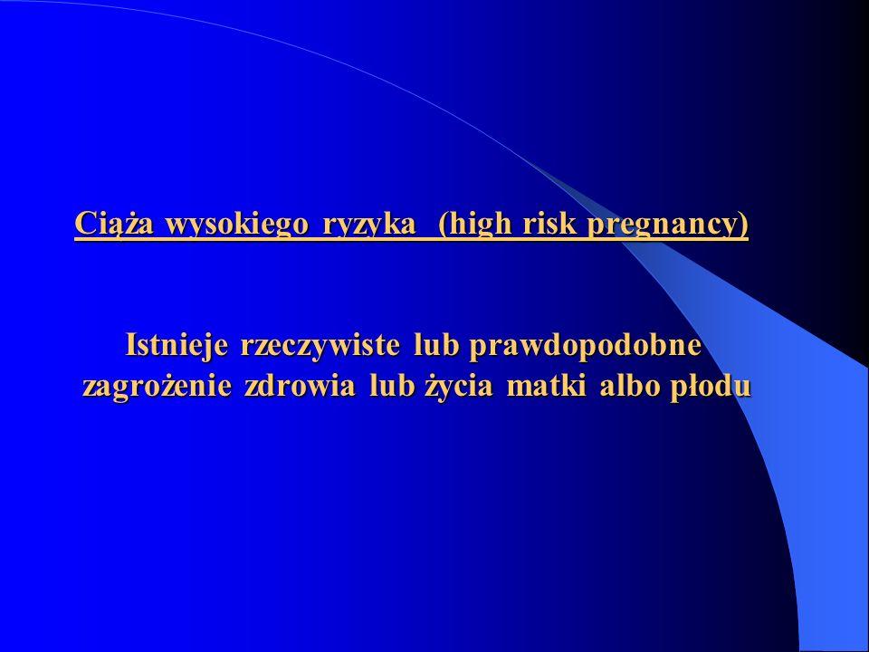 Ciąża wysokiego ryzyka (high risk pregnancy) Istnieje rzeczywiste lub prawdopodobne zagrożenie zdrowia lub życia matki albo płodu
