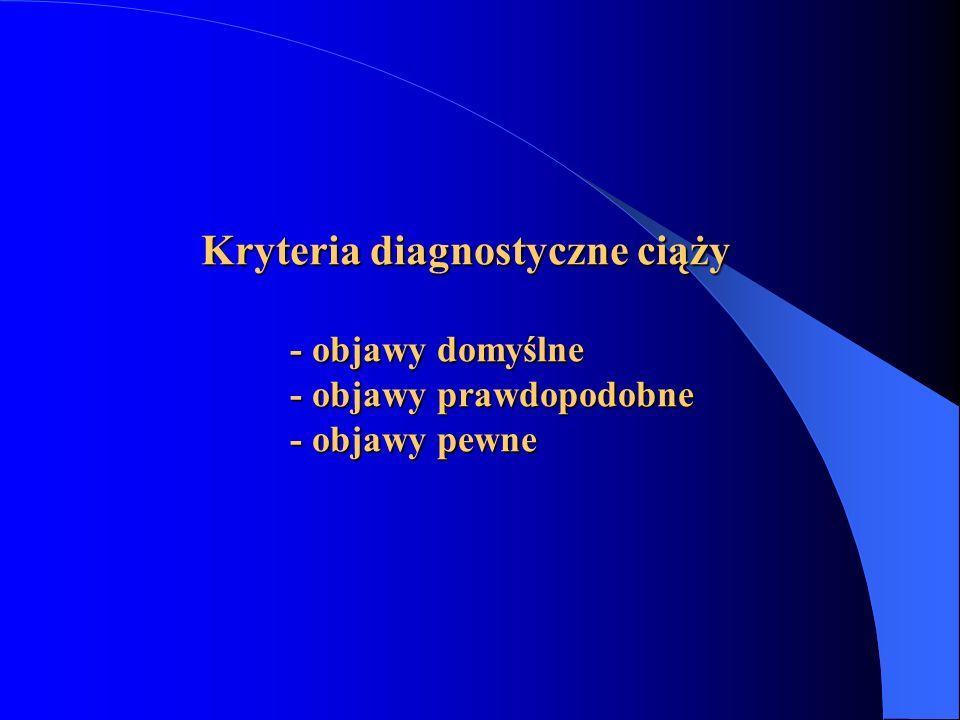 Kryteria diagnostyczne ciąży - objawy domyślne - objawy prawdopodobne - objawy pewne