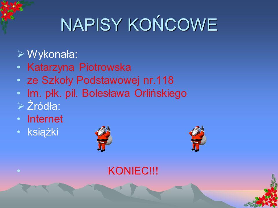 NAPISY KOŃCOWE Wykonała: Katarzyna Piotrowska