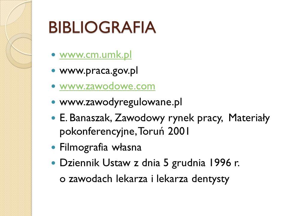 BIBLIOGRAFIA www.cm.umk.pl www.praca.gov.pl www.zawodowe.com