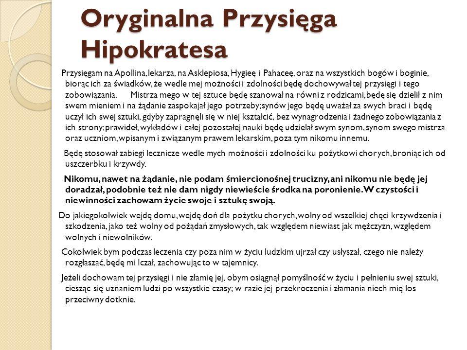 Oryginalna Przysięga Hipokratesa