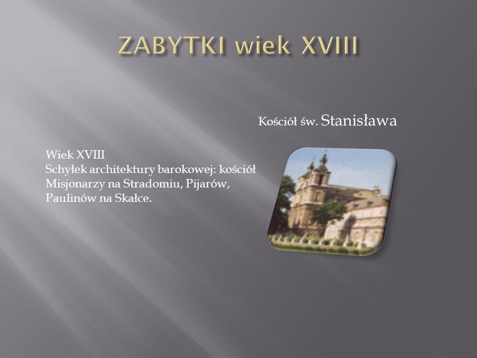 ZABYTKI wiek XVIII Kościół św. Stanisława