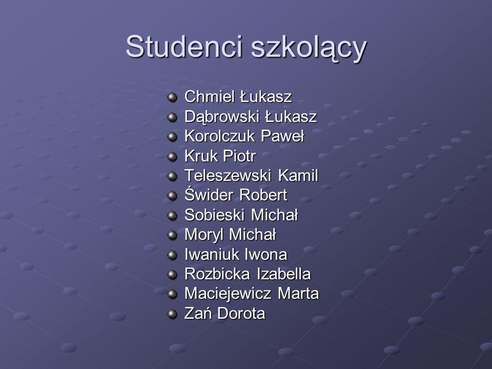 Studenci szkolący Chmiel Łukasz Dąbrowski Łukasz Korolczuk Paweł