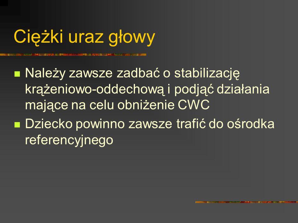 Ciężki uraz głowy Należy zawsze zadbać o stabilizację krążeniowo-oddechową i podjąć działania mające na celu obniżenie CWC.