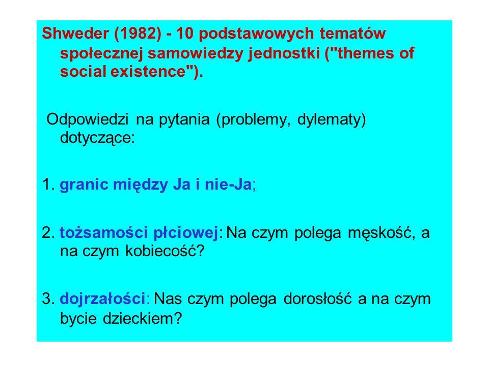 Shweder (1982) - 10 podstawowych tematów społecznej samowiedzy jednostki ( themes of social existence ).