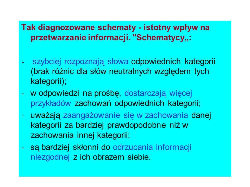Tak diagnozowane schematy - istotny wpływ na przetwarzanie informacji