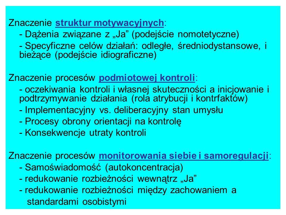 Znaczenie struktur motywacyjnych: