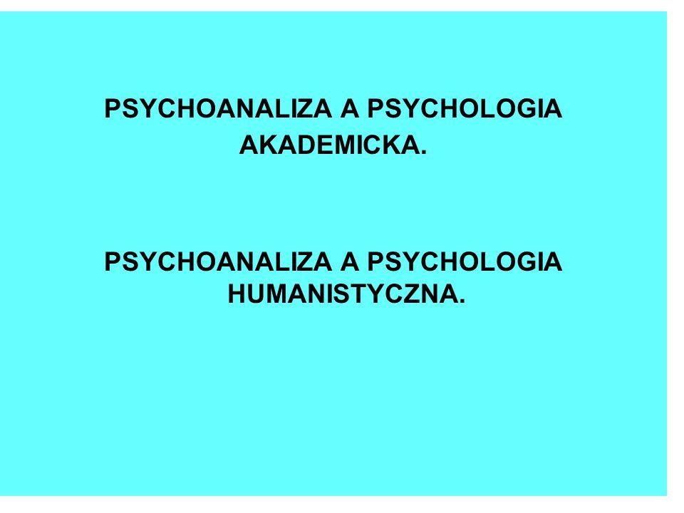 PSYCHOANALIZA A PSYCHOLOGIA PSYCHOANALIZA A PSYCHOLOGIA HUMANISTYCZNA.