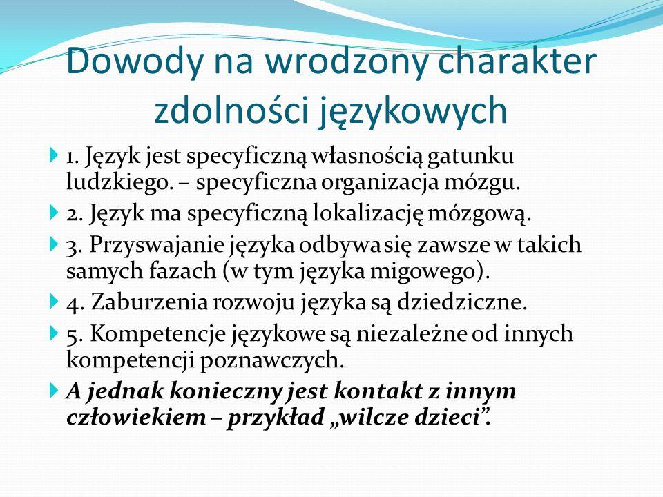 Dowody na wrodzony charakter zdolności językowych