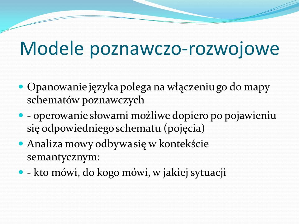 Modele poznawczo-rozwojowe