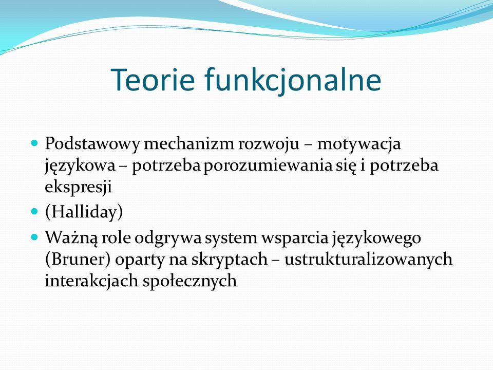 Teorie funkcjonalne Podstawowy mechanizm rozwoju – motywacja językowa – potrzeba porozumiewania się i potrzeba ekspresji.