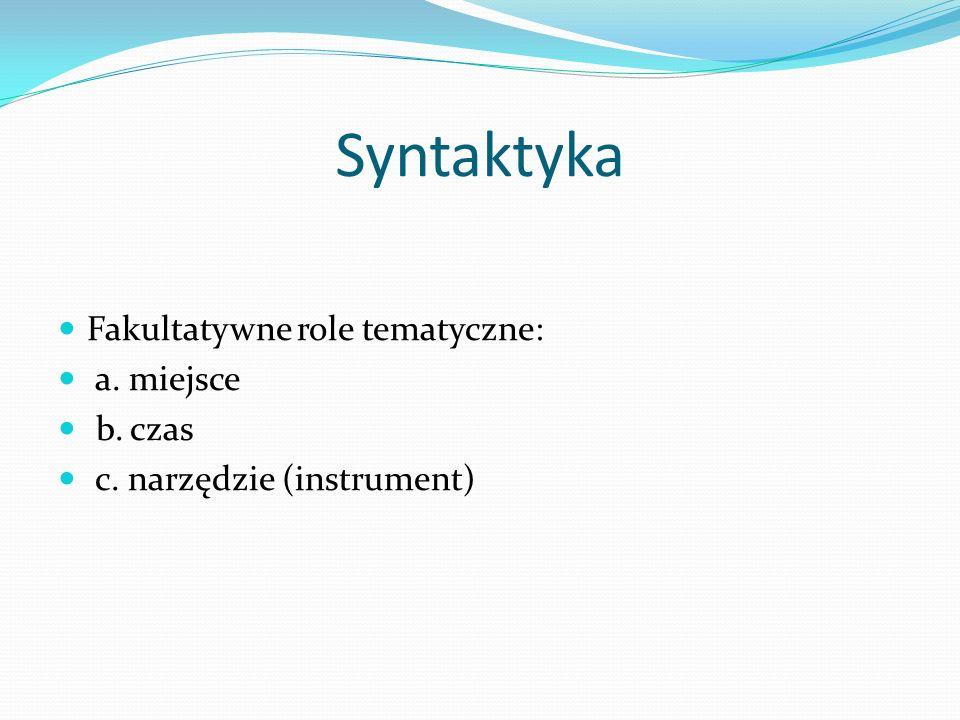Syntaktyka Fakultatywne role tematyczne: a. miejsce b. czas