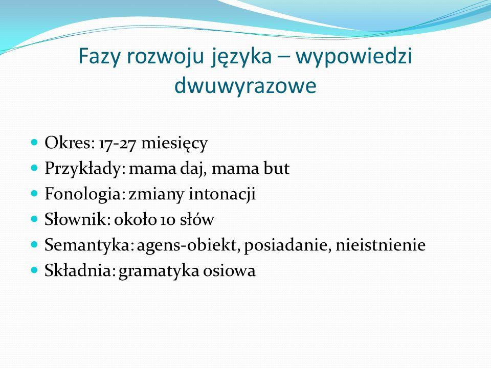 Fazy rozwoju języka – wypowiedzi dwuwyrazowe
