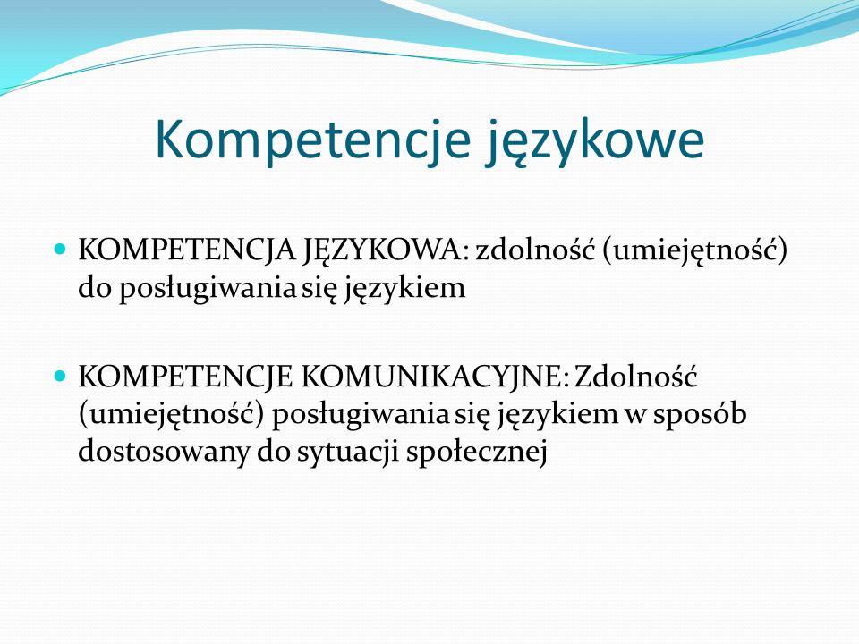 Kompetencje językowe KOMPETENCJA JĘZYKOWA: zdolność (umiejętność) do posługiwania się językiem.