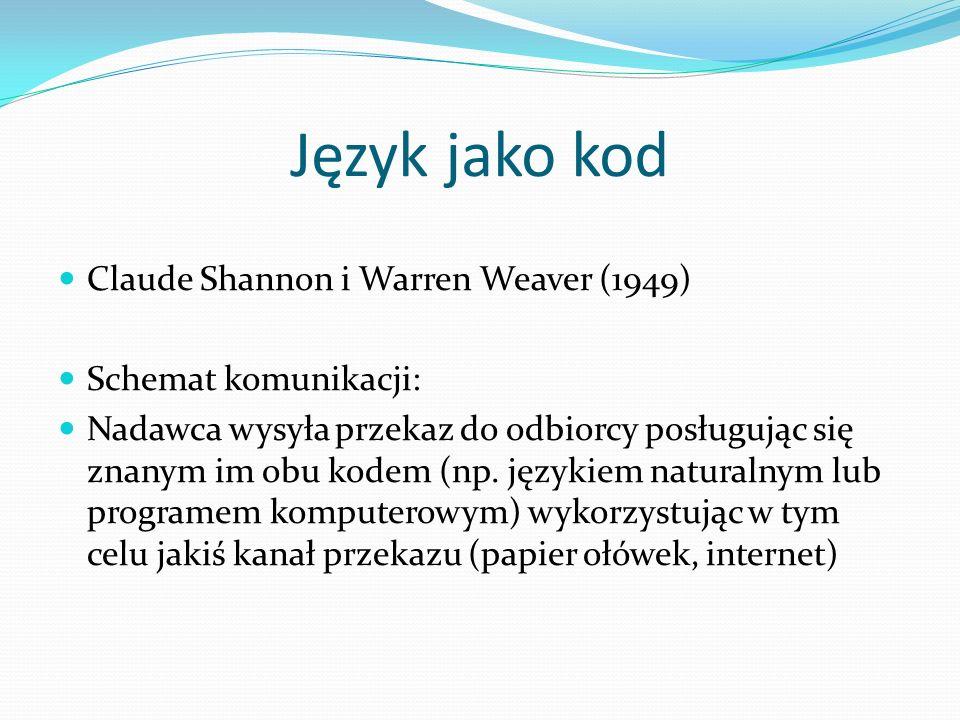 Język jako kod Claude Shannon i Warren Weaver (1949)