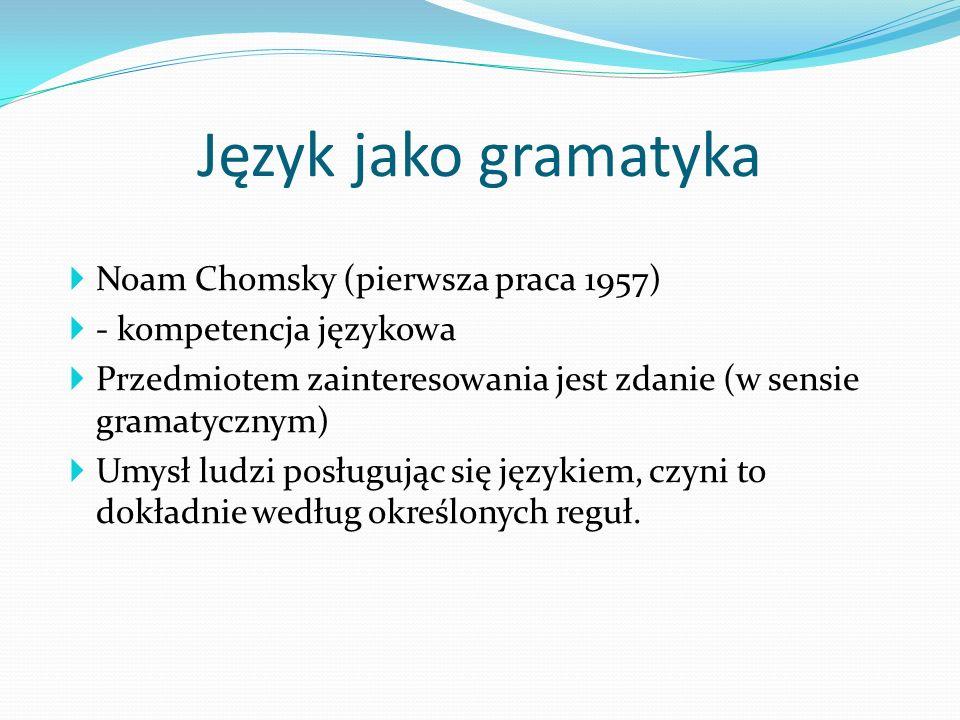 Język jako gramatyka Noam Chomsky (pierwsza praca 1957)