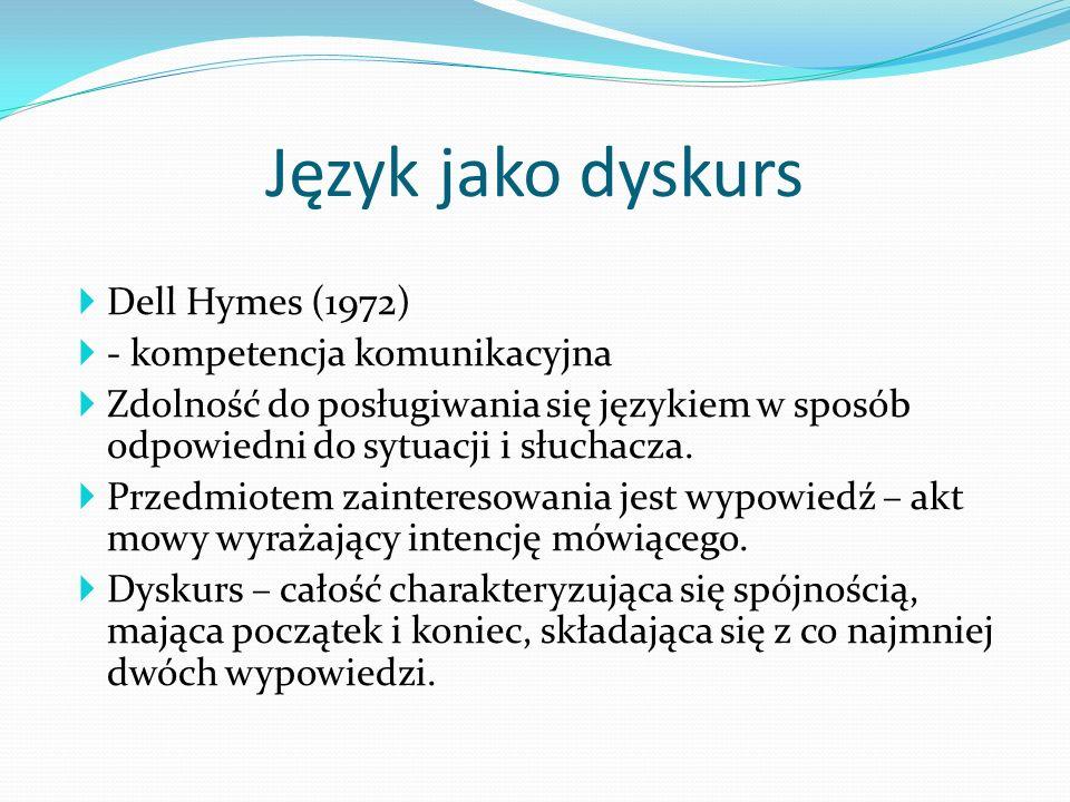 Język jako dyskurs Dell Hymes (1972) - kompetencja komunikacyjna