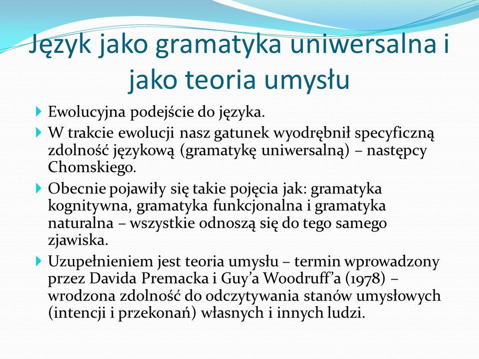 Język jako gramatyka uniwersalna i jako teoria umysłu