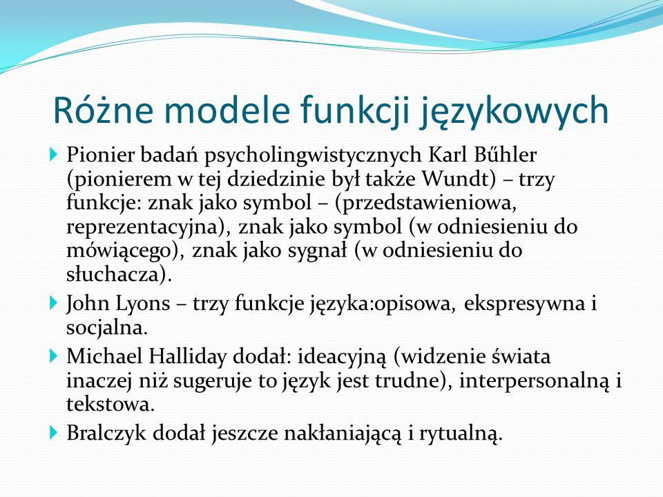 Różne modele funkcji językowych