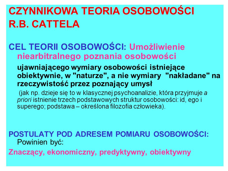 CZYNNIKOWA TEORIA OSOBOWOŚCI R.B. CATTELA