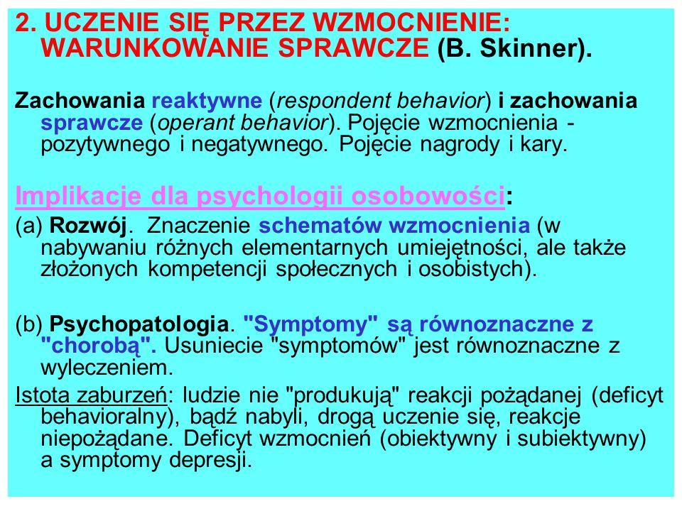 2. UCZENIE SIĘ PRZEZ WZMOCNIENIE: WARUNKOWANIE SPRAWCZE (B. Skinner).