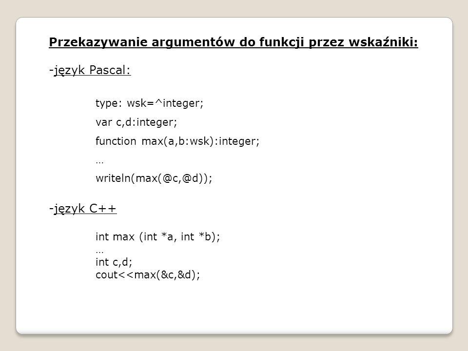 Przekazywanie argumentów do funkcji przez wskaźniki: język Pascal: