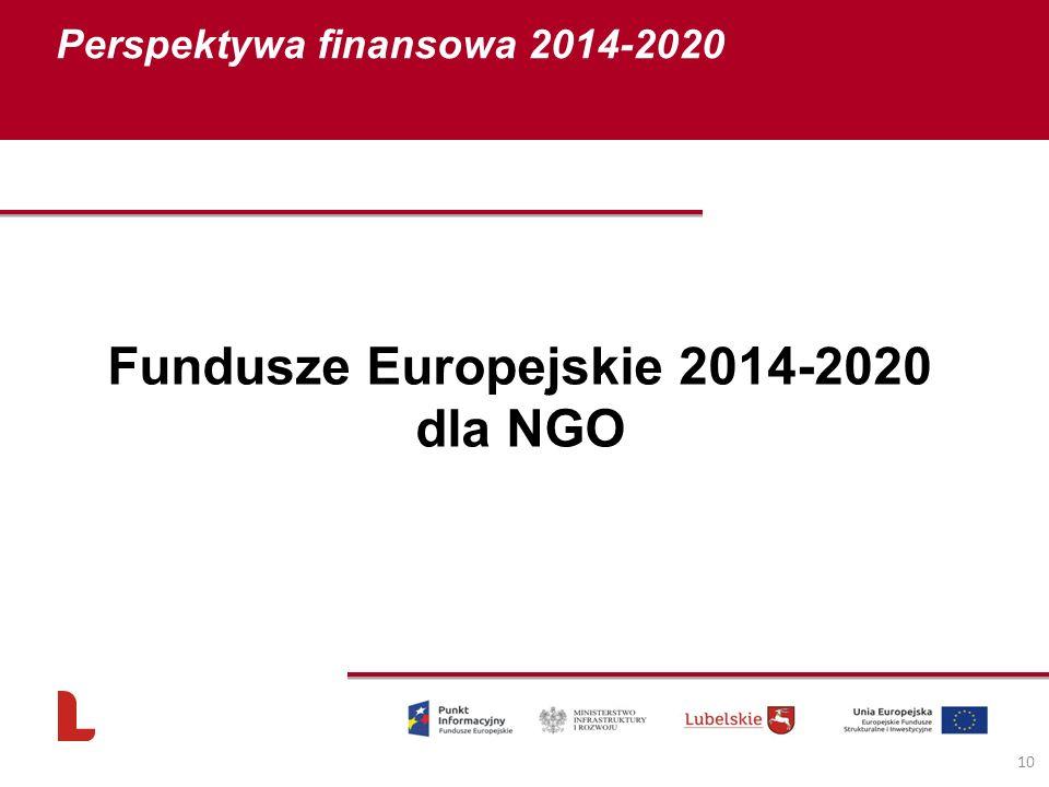 Fundusze Europejskie 2014-2020 dla NGO