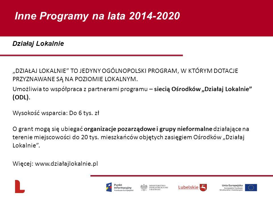 Inne Programy na lata 2014-2020 Działaj Lokalnie