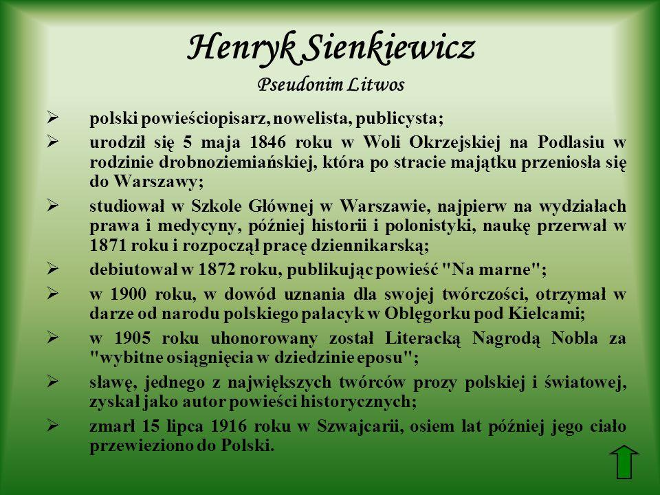 Henryk Sienkiewicz Pseudonim Litwos