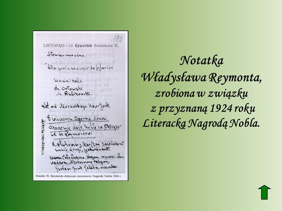 Notatka Władysława Reymonta, zrobiona w związku